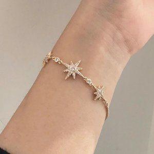 *NEW Yellow Gold Diamond Star Bracelet